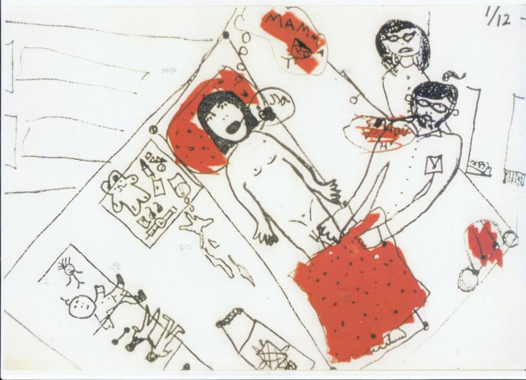 """Tegning fra Margrete Wiede Aaslands bok """"Si det til noen""""."""
